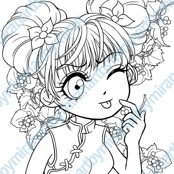 Coloring Book Anime Manga Girl Illustration By Artbymiran 1 75