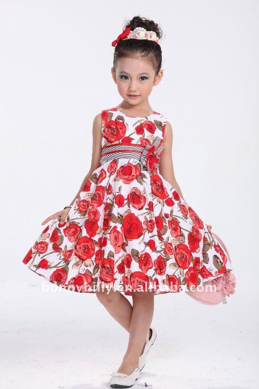 Vestido Rojo,Rojo Nuevo Algodón Del Verano De Los Niños,Vestidos ...