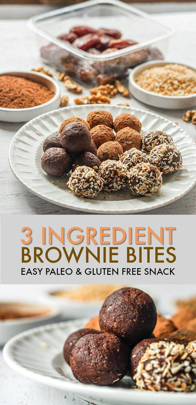 3 Ingredient Brownie Bites (Paleo, gluten free) images