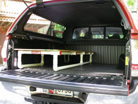 Truck Bed Sleeping Platform Made From Pvc Pipe I Could Do This For Camping Bins Easier Access