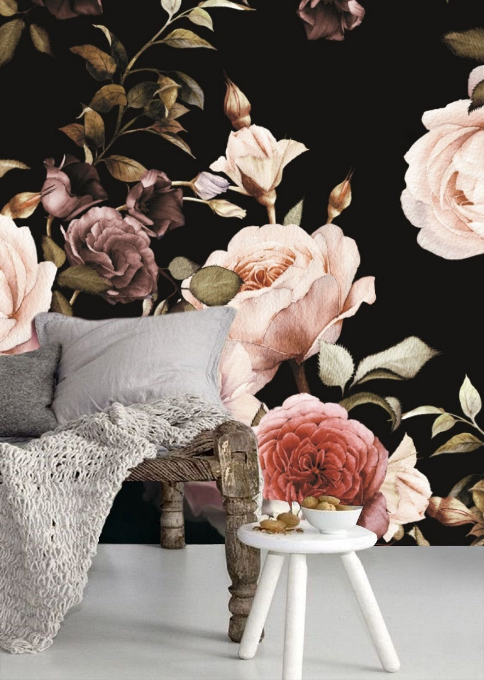Dark Floral Wallpaper Mural Peel And Stick Wallpaper Floral Mural Removable Peony Wall Paper Re Black Floral Wallpaper Large Floral Wallpaper Floral Wallpaper