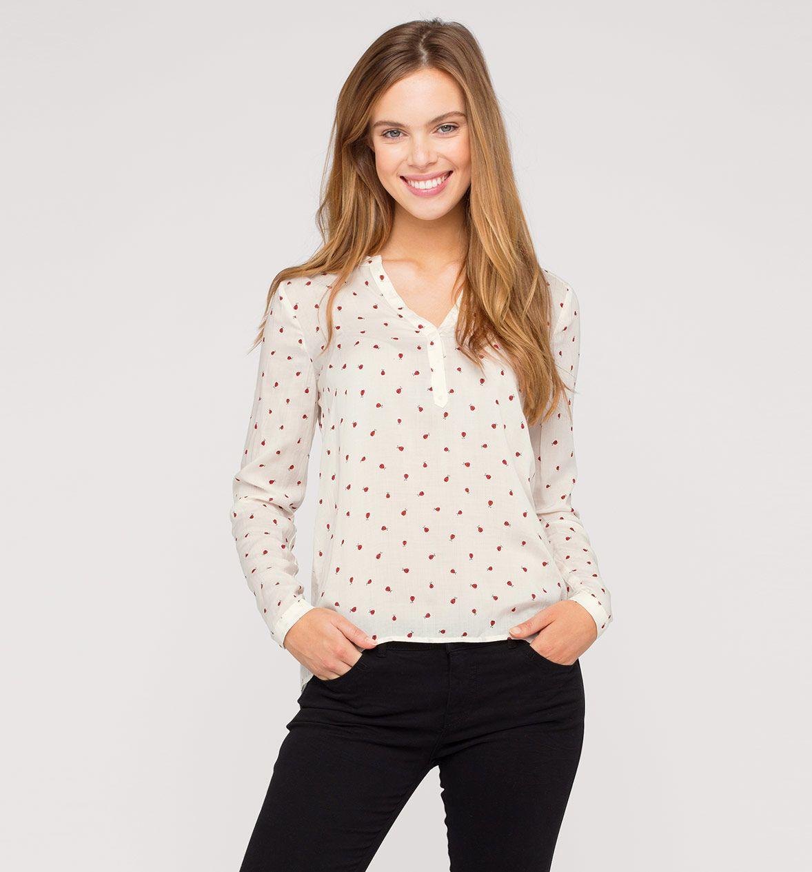 Damen Bluse Mit Marienkafer Print In Beige Mode Gunstig Online Kaufen Fashion Clothes Womens Fashion