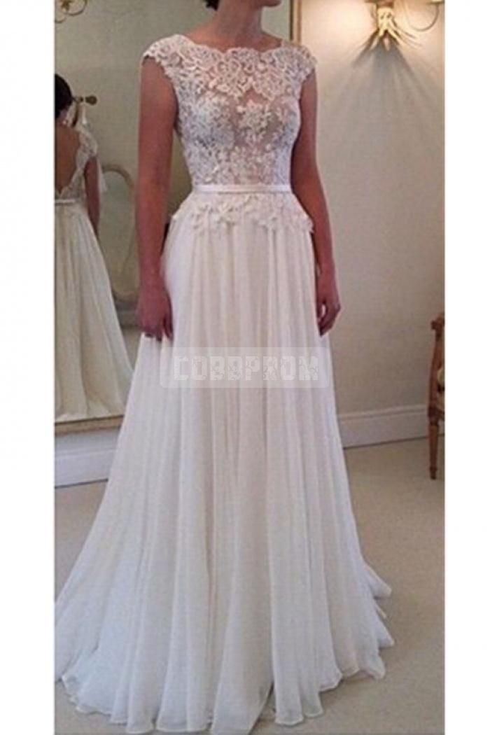 A Line Lace Scalloped Chiffon Open Back Wedding Dress Wow I Love This