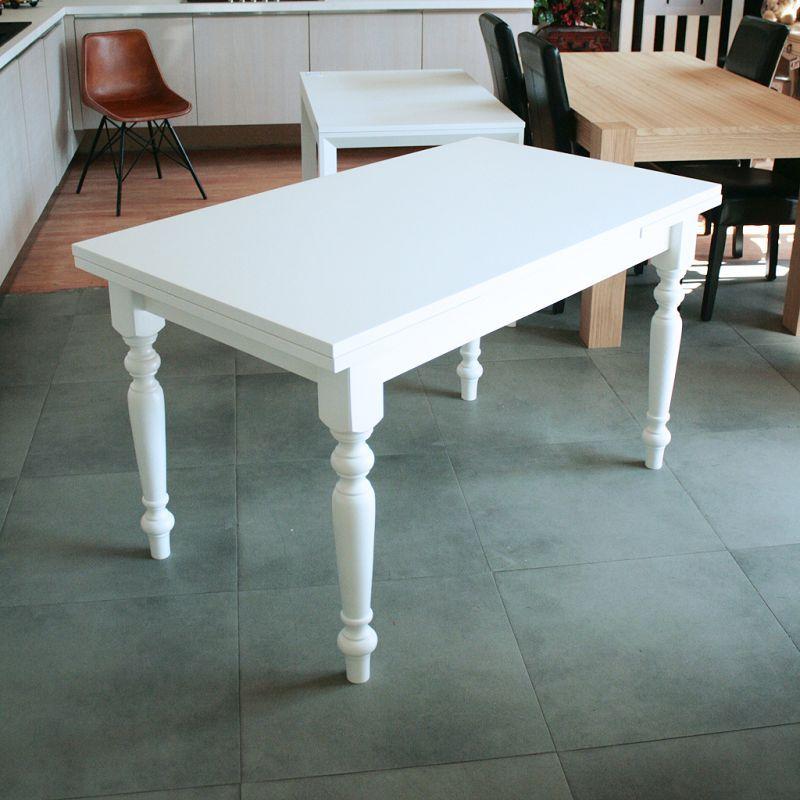 Tavolo provenzale bianco allungabile tavolo quadrato allungabile in legno massello con apertura - Tavolo tondo apribile ...