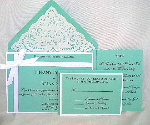 Tiffany Blue And White Lace Wedding Invitation By