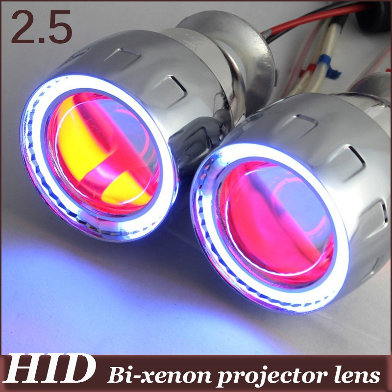 59.98$  Buy here - http://alis94.worldwells.pw/go.php?t=950318791 - 35w 2.5 inch HID Bi-xenon Projector Lens CCFL Angel Eye demon eyes  H1 H4 H7 HB3 HB4 9006 xenon projector kit for headlight 59.98$