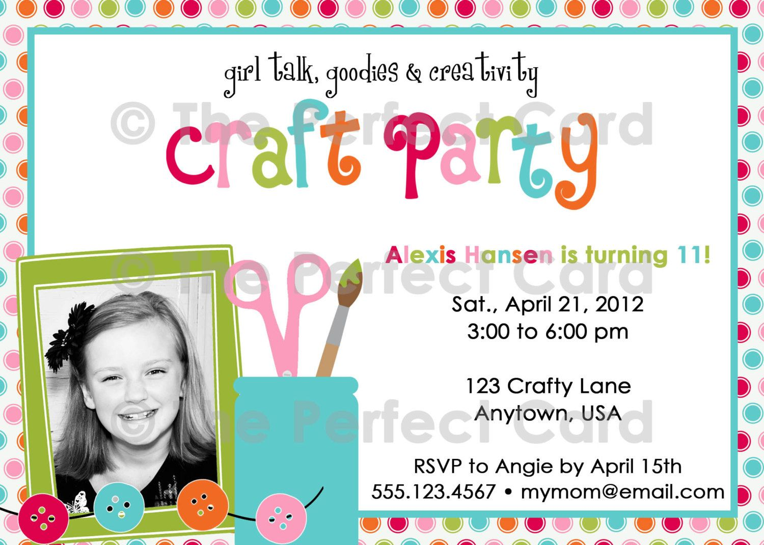 Girl Talk Craft Party Birthday Invitation  Craft party, Party