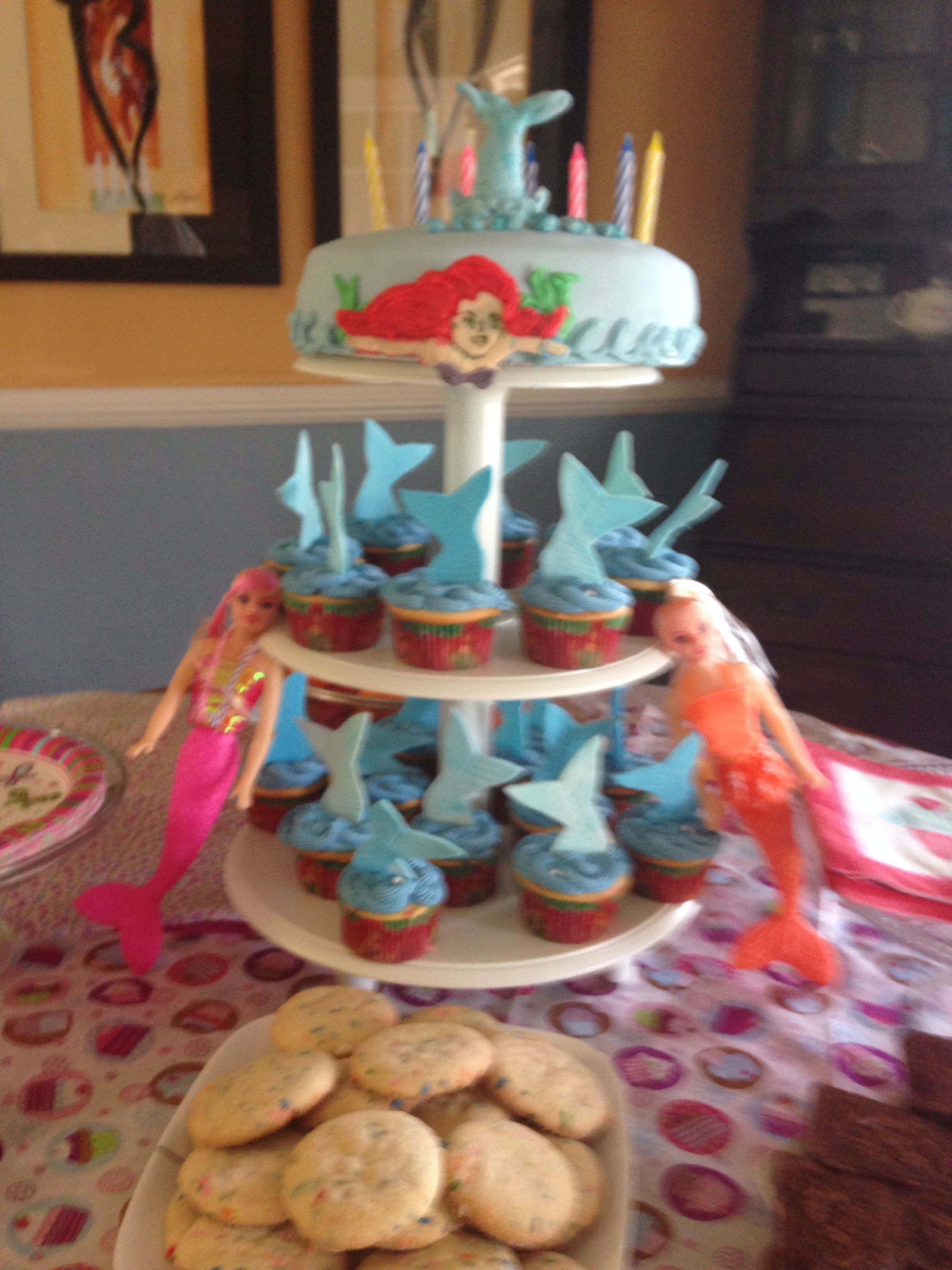 Mermaid Cake And Cupcake Tower Made 2 22 14 Birthday For Client Age 7