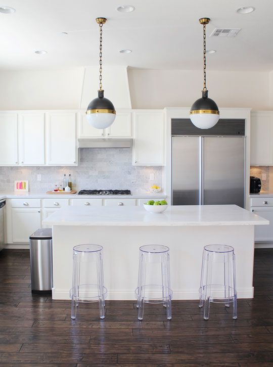 Get the Look: Sleek White Kitchen with Rustic Wood Floor