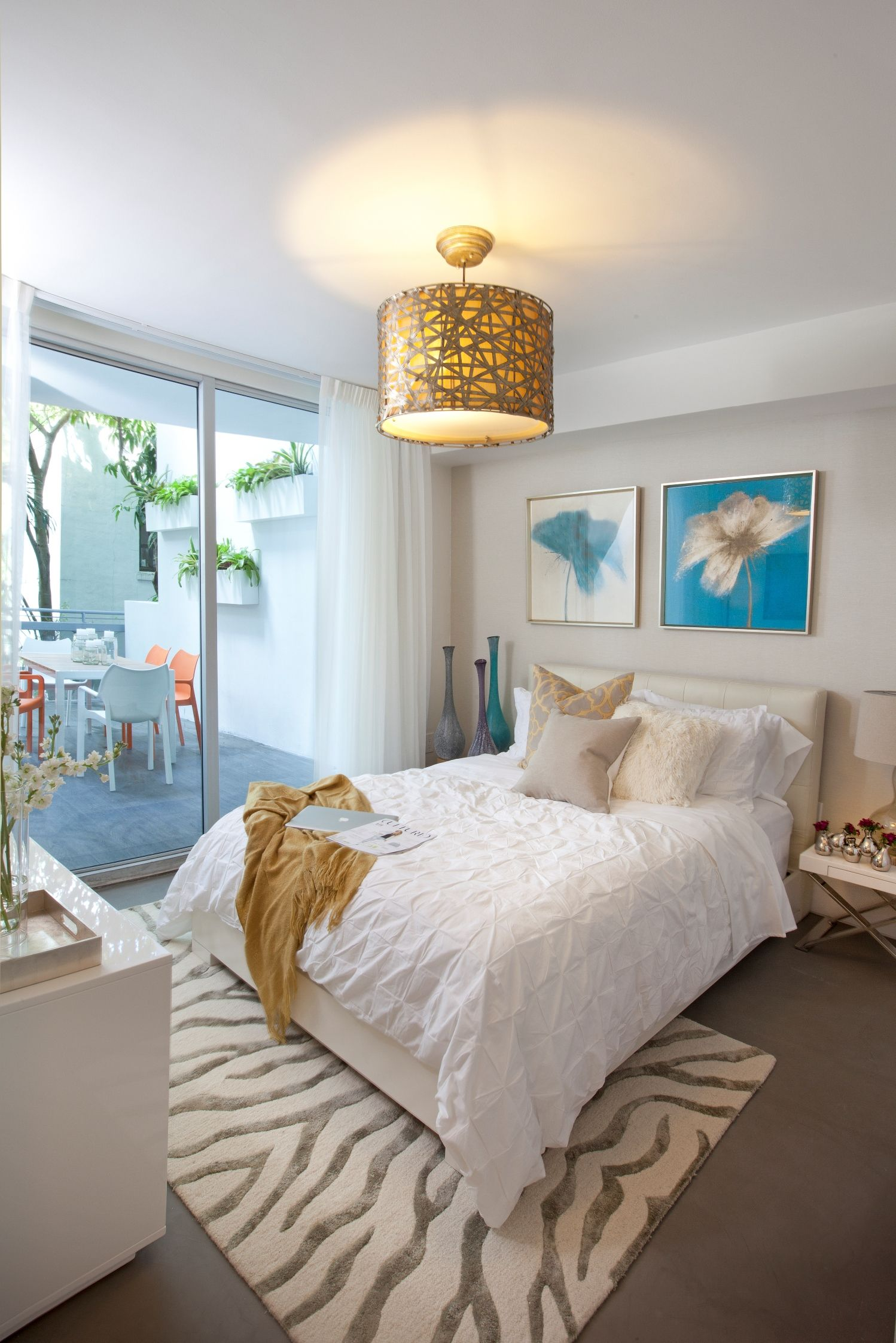 Guest Bedroom Drapery, Wallpaper and Upholstery at this residential home in  Miami, Beach,