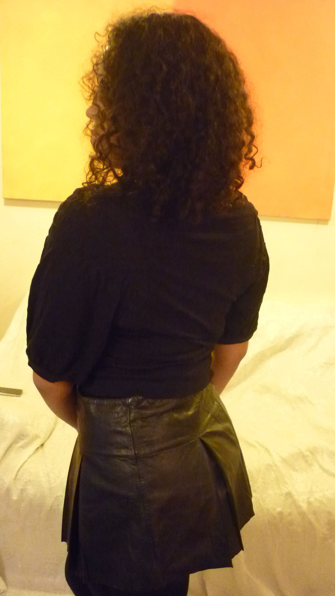 TopShop top and vintage noir leather skirt
