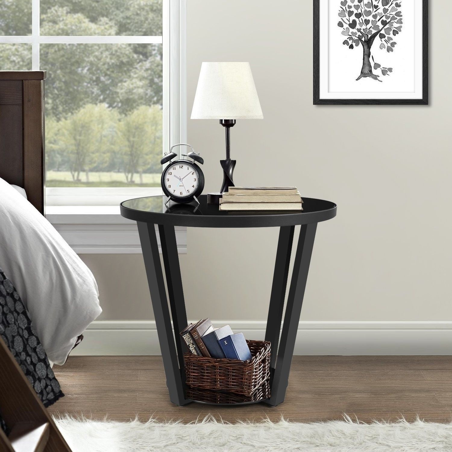 Modern Console Glass Table Steel Accent Shelf Entryway ...