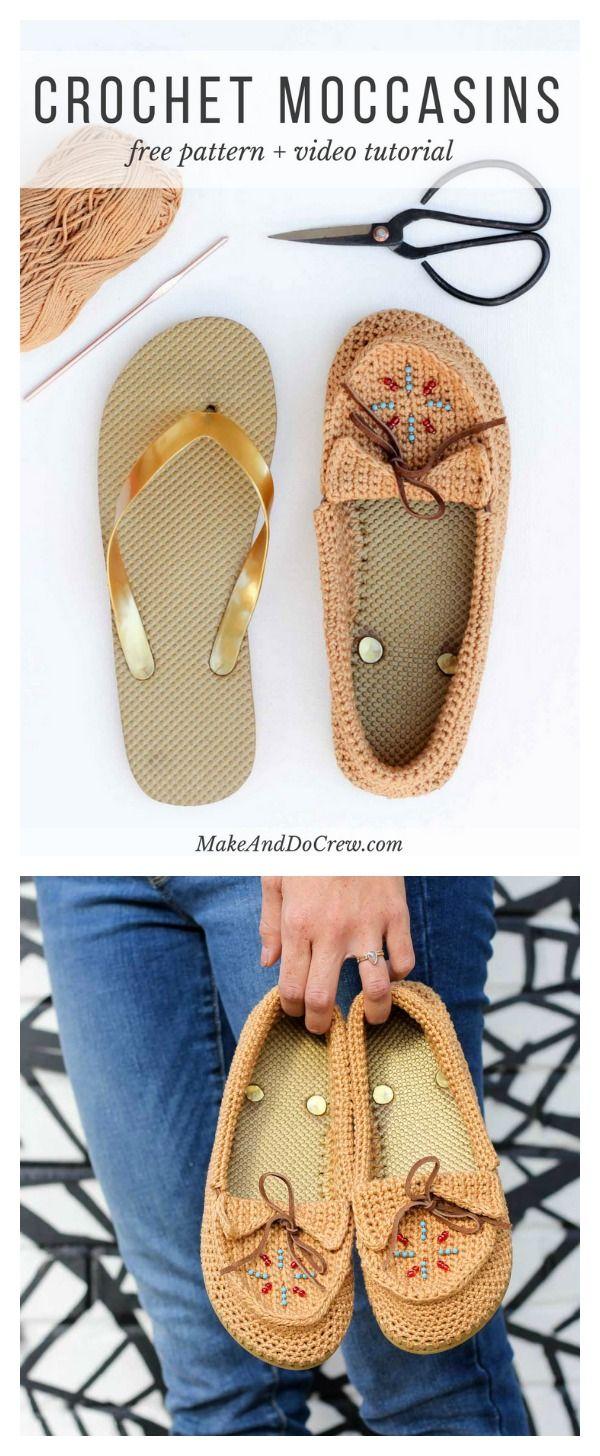 Crochet Moccasins with Flip Flop Soles Free Pattern | sapatilhas ...