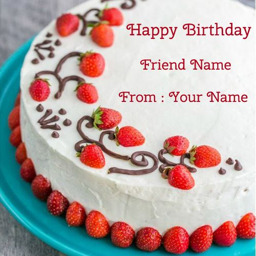 Strawberry Surprise Birthday Cake With Your Name.Print ...