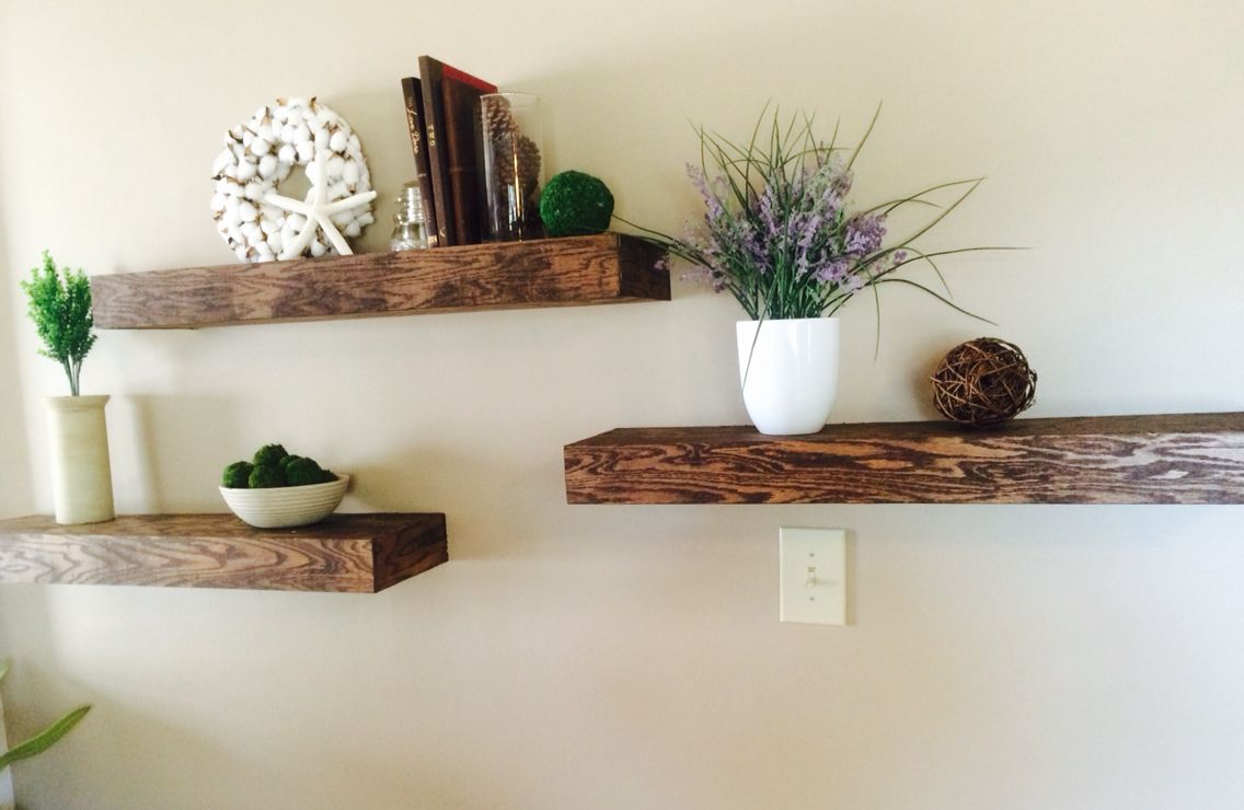 Chunky Floating Shelves Made Easy From Oak Plywood And 3x2 Lumber From Lowes Stained With Minwax Dark Walnut Stain Oak Plywood Floating Shelves Decor