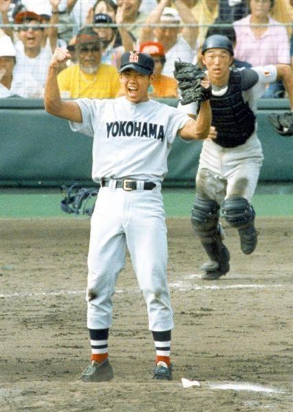 甲子園でガッツポーズをするかっこいい高校球児時代の松坂大輔