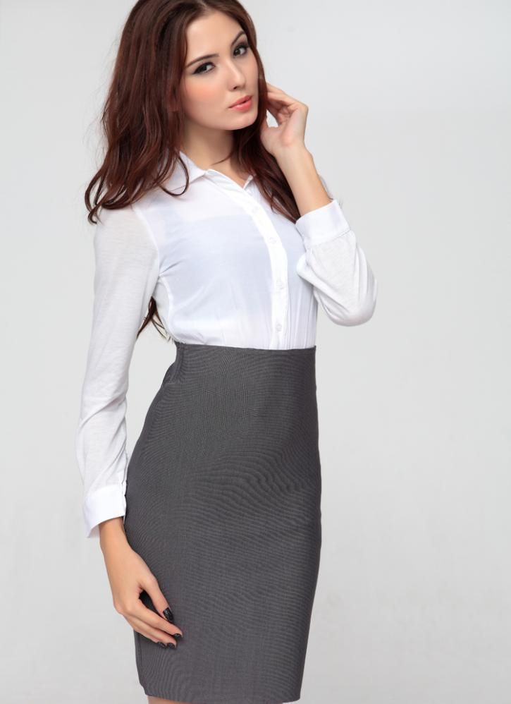 Gray Suit Skirt Starry Office Lady High Waist Ustrendy