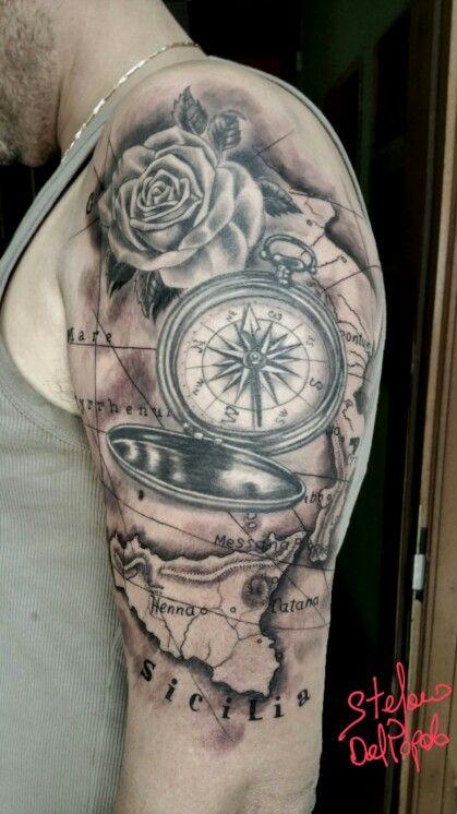 compass map rose tattoos pinterest tattoo ideen. Black Bedroom Furniture Sets. Home Design Ideas