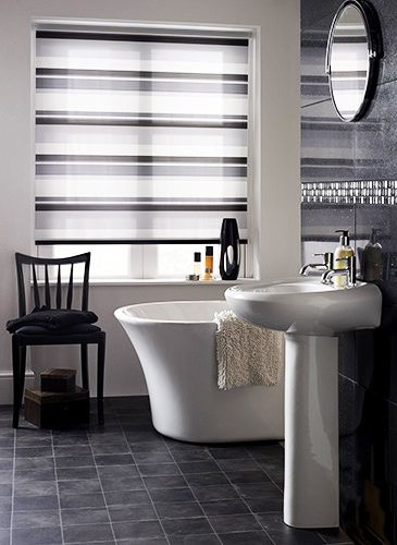 Blending Smoky Shades Of Grey With Off White Stripes, This 100% Waterproof  Blind Is Made To Last And Will Be A Chic, Smart Addition To Your Bathroom.