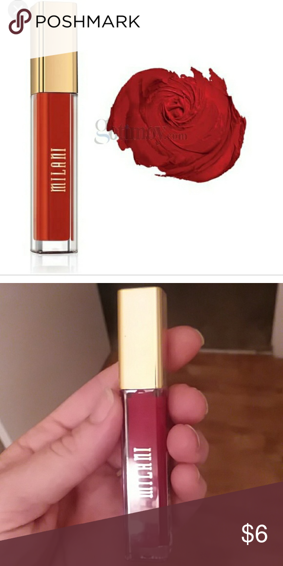 Milani - striking This is a perfect true red color by milani. It is a part of there amore matte lip cream collection. This lipstick goes on smoothly while lasting a long time. Brand new. Milani Makeup Lipstick