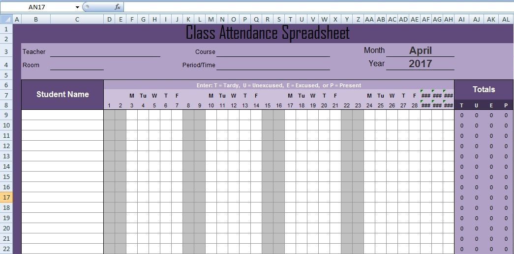 Latest Class Attendance Spreadsheet Templates Excel Excel