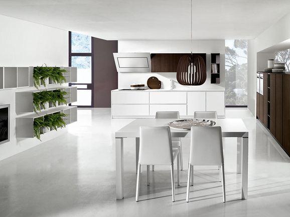 Cucina moderna rovere moro e bianco lucido con maniglia a gola ...