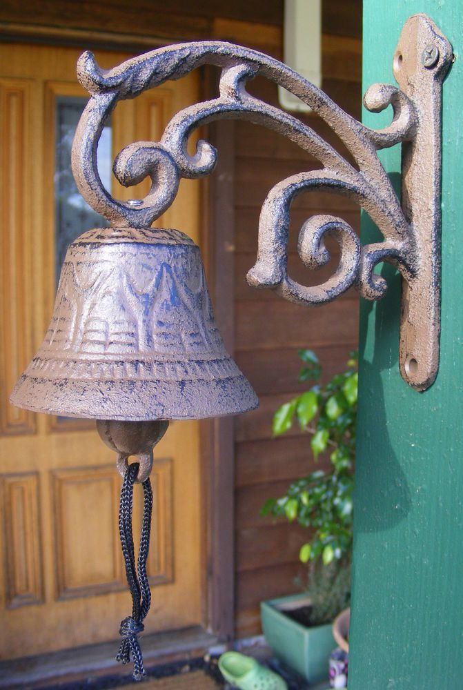 Rustic Solid Cast Iron Hanging Bell Entry Front Door Bell Vine