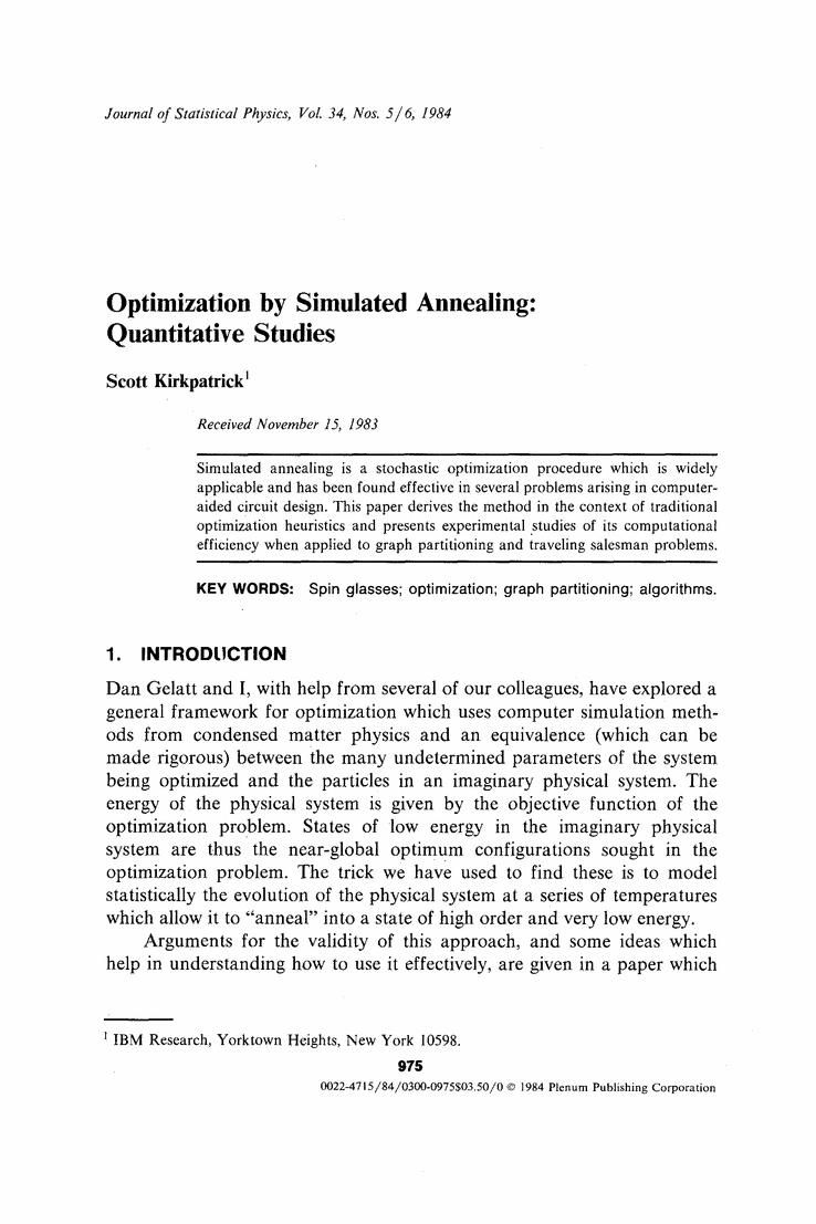 Optimization By Simulated Annealing Quantitative Studies Circuit Design Online Explore Marketing And More