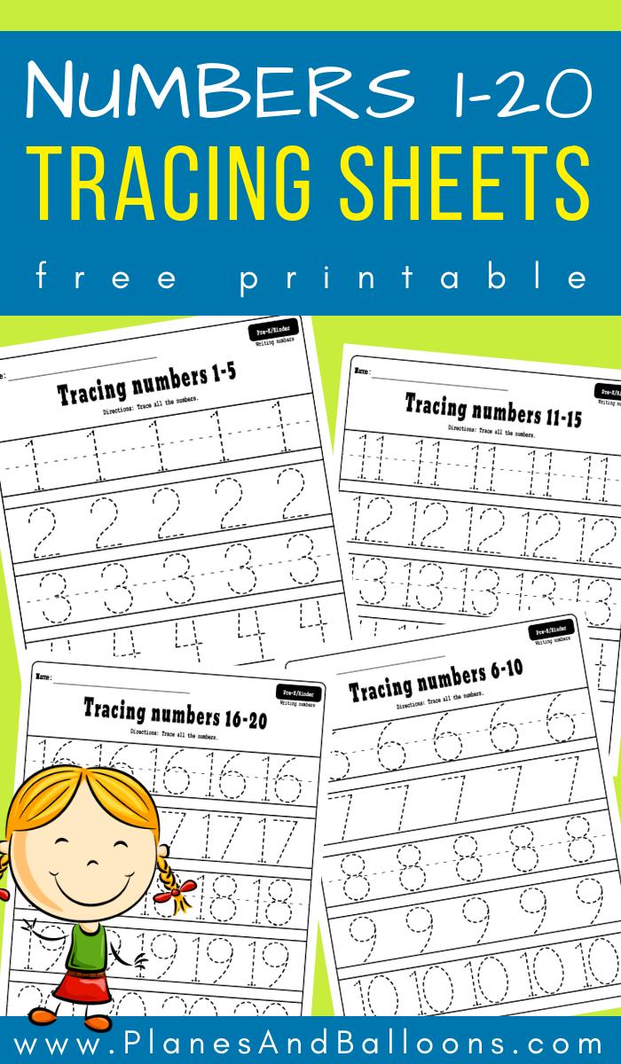 Numbers 120 tracing worksheets Numbers preschool