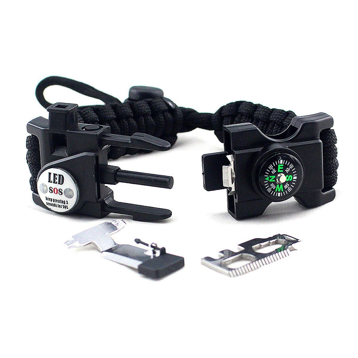 Outdoor Survival Paracord Bracelet Flint Fire Starter Whistle Compass Gear S/&K