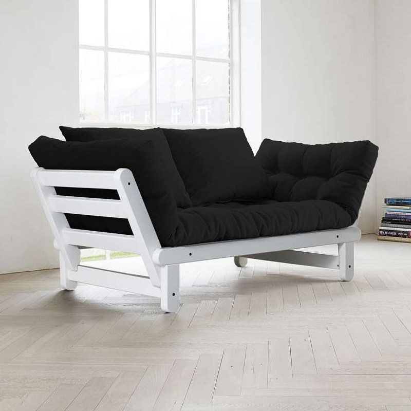 Fresh Futon Beat White Convertible Sofa Black Beatwh005