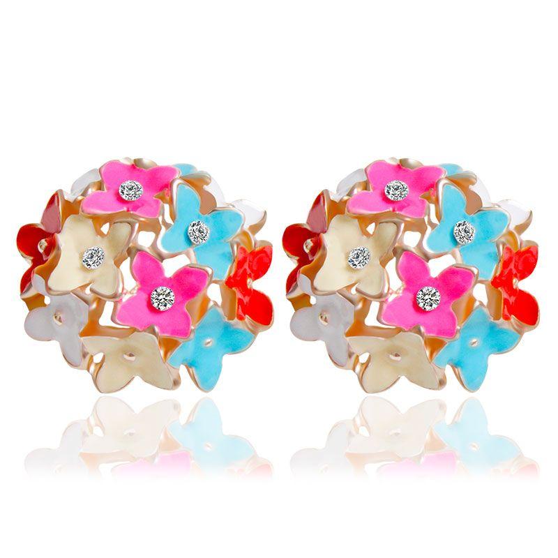 F & U 4 A Colori Fiore Four Leaf Orecchini Chiodi di Garofano Designer di New 2015 Primavera pendientes Brincos per le Donne! E100