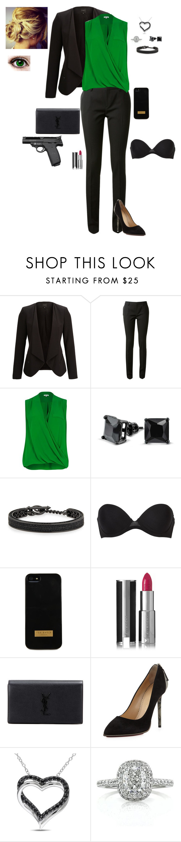 """""""Business"""" by gone-girl ❤ liked on Polyvore featuring SELECTED, Yves Saint Laurent, River Island, Bling Jewelry, Eddie Borgo, Calvin Klein Underwear, Ted Baker, Givenchy, Charlotte Olympia and Smith & Wesson"""