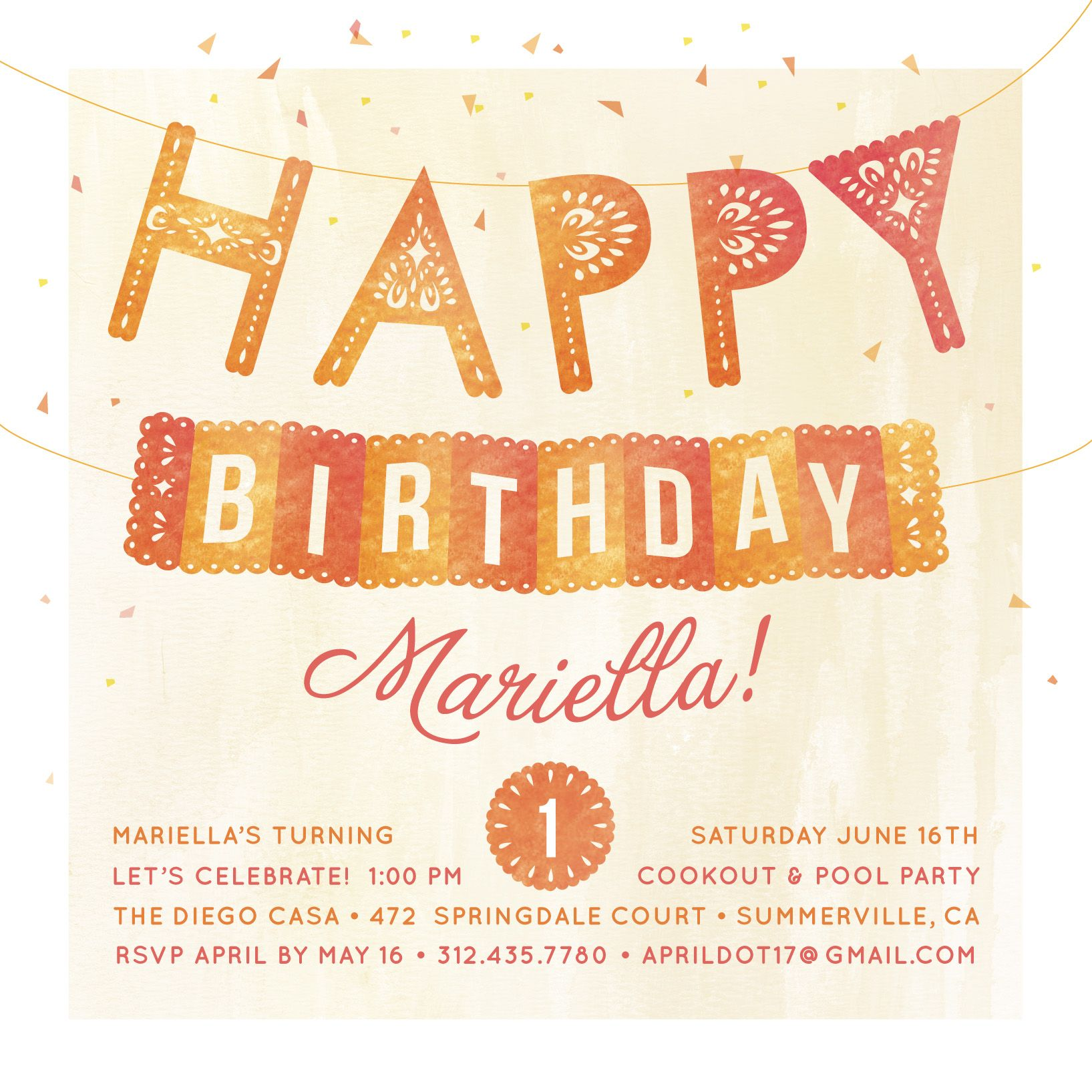 This sweet, funky birthday party invitation lets your guests know ...
