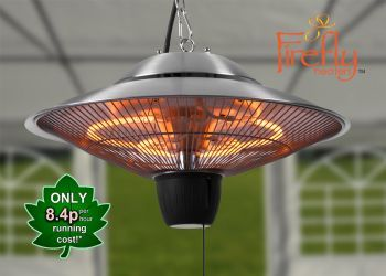Superbe 1.5kW Hanging Ceiling Halogen Bulb Electric Infrared Patio Heater With 2  Heat Settings By Firefly™