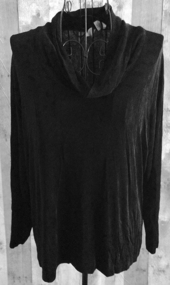 Chicos Travelers Cowl Neck Top Blouse Black Stretch 3/4 Sleeve Size 2/Large 12 #Chicos #Top