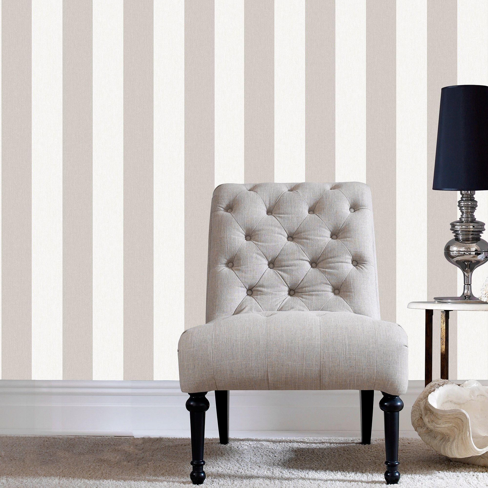 Papier Peint A Rayure Gris Et Blanc calico stripe wallpaper in natural from the innocence