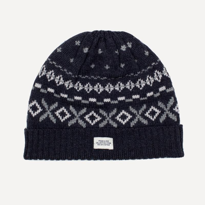 Knit Fair Isle Tuque in Navy | Frank & Oak