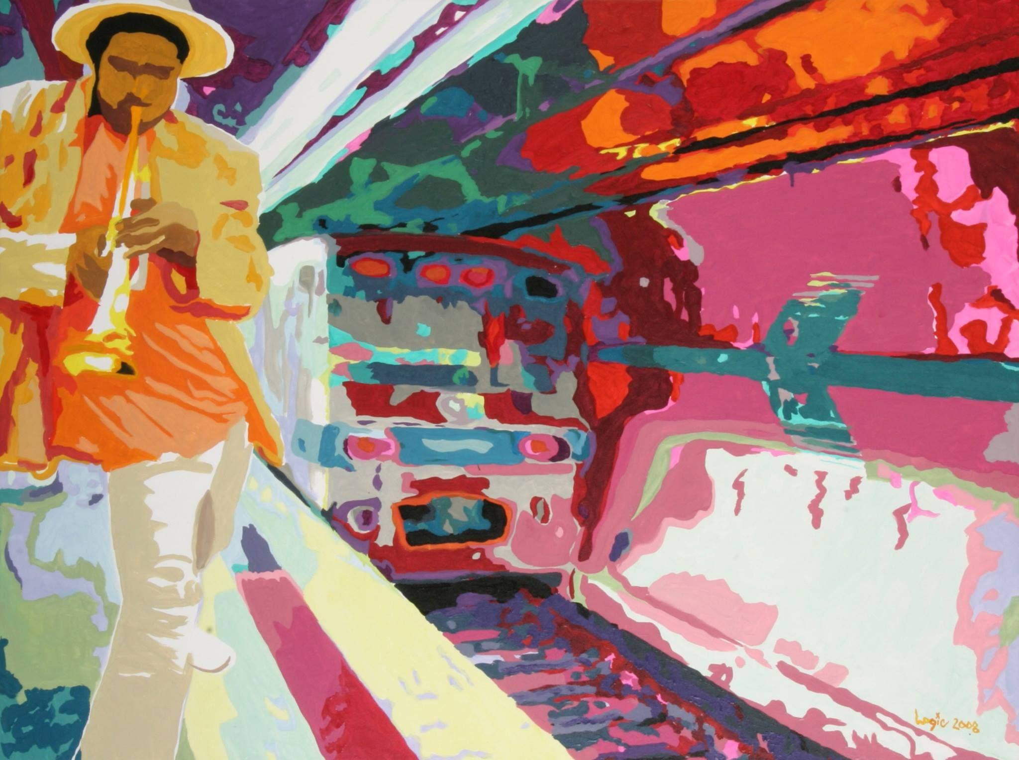 At The Subway Music Art Modern Art Painting