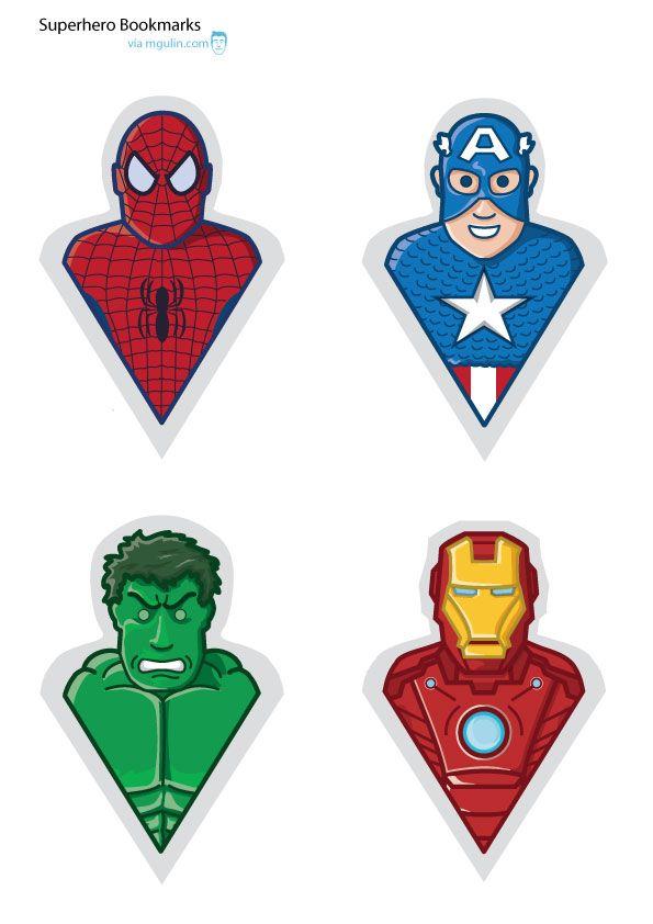 diy superhero bookmarks super heros printables pinterest