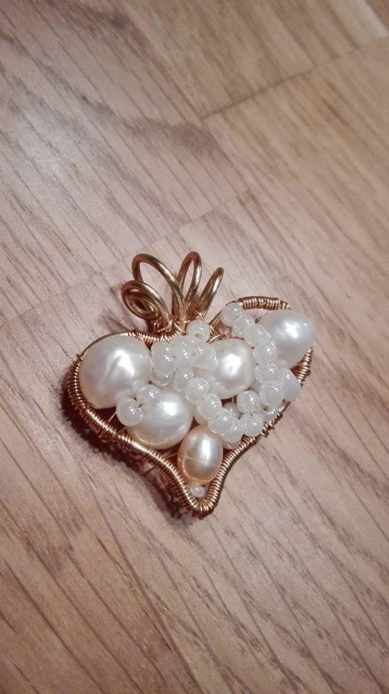 Details zu Echte Perle (Barock Zuchtperle) Anhänger (Herz), Draht ...