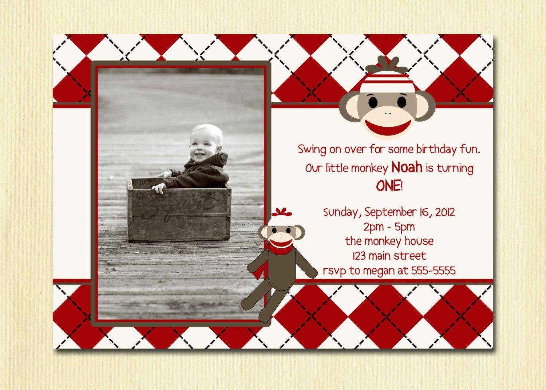 Sock Monkey Birthday Invitation - First Birthday Boy - 1st Birthday ...