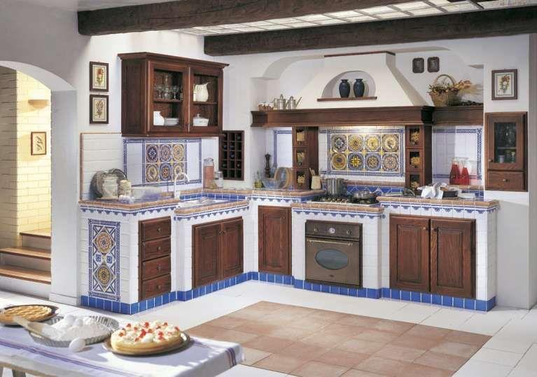 Cucine in finta muratura - Cucina con piastrelle colorate ...