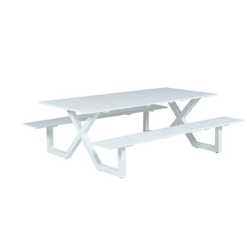 Pleasant Gingrich Aluminium Picnic Bench Sol 72 Outdoor Colour White Gmtry Best Dining Table And Chair Ideas Images Gmtryco