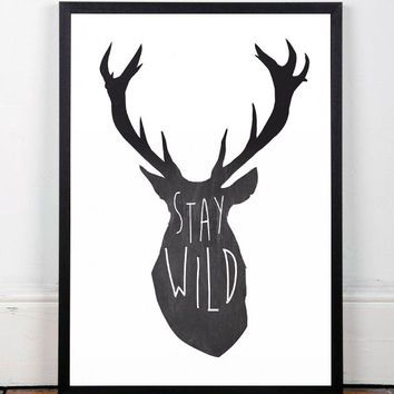 Deer print quote poster motivational quote inspirational quote a3 print deer