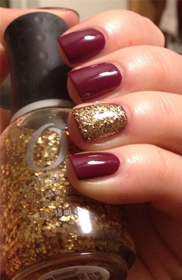Burgundy Gold Fall Nails Nails Nails Inspiration Fall Nail Art