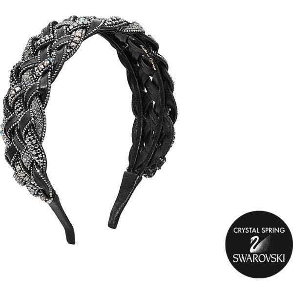Valérie Valentine Exclusive braided leather and Swarovski crystals Twist headband zmXk3K