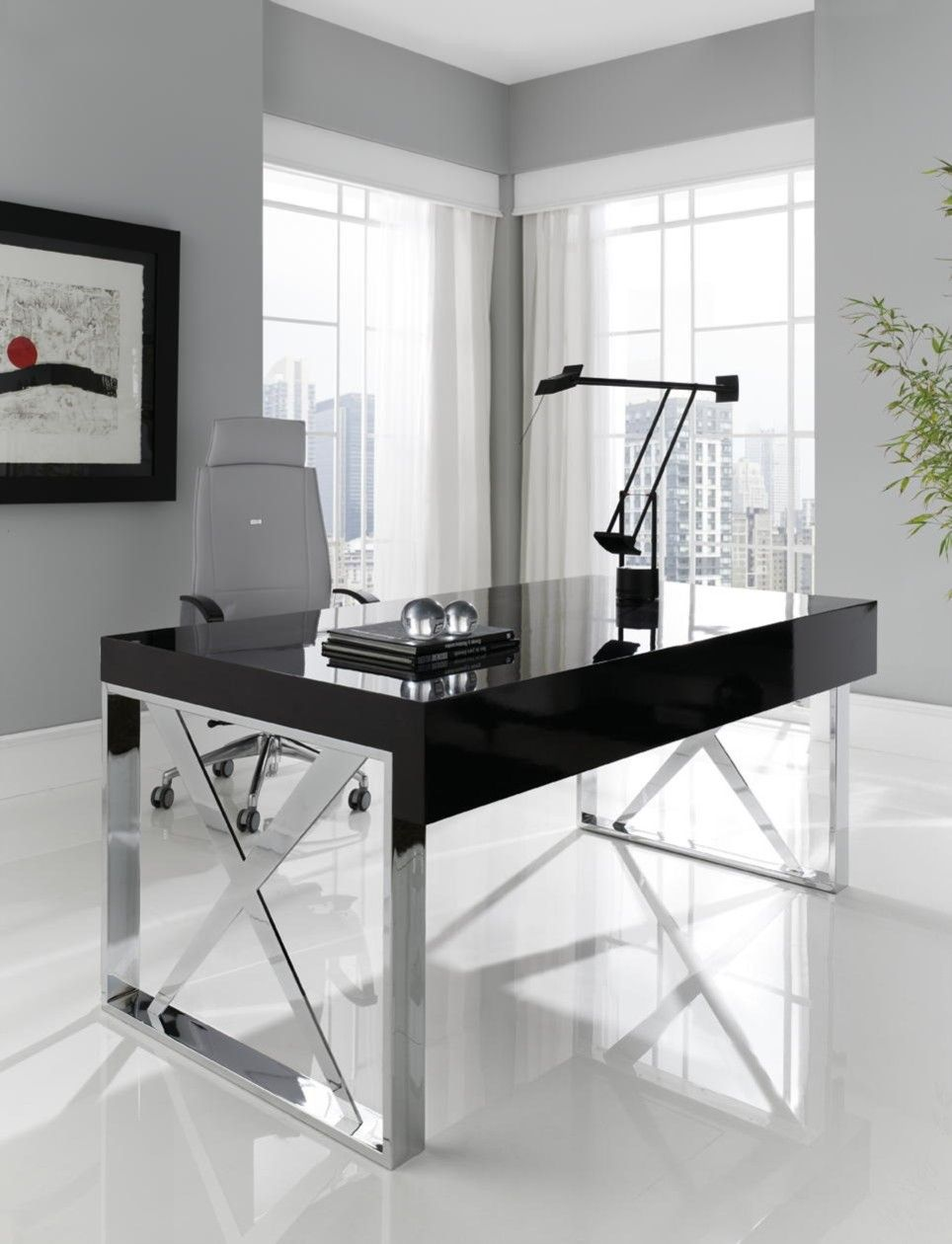 High Gloss Two Drawer Study Desk With Stainless Steel Cross Legs