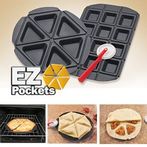 """Make perfect personal pies and pockets at home! Just place dough in the pie pan, add your favourite fruit, meat or cheese filling, cover the top with dough and pop into the oven to bake. Patented ridge guides let you easily cut, trim and decorate edges. Set includes 2 non-stick stainless steel pans (one makes 12 square pies, one makes 6 triangular pies), recipe guide and an 8""""L cutting/trimming tool. Square Pan: 15-1/4""""L x 10-1/2""""W, Round Pan: 12""""Diam."""
