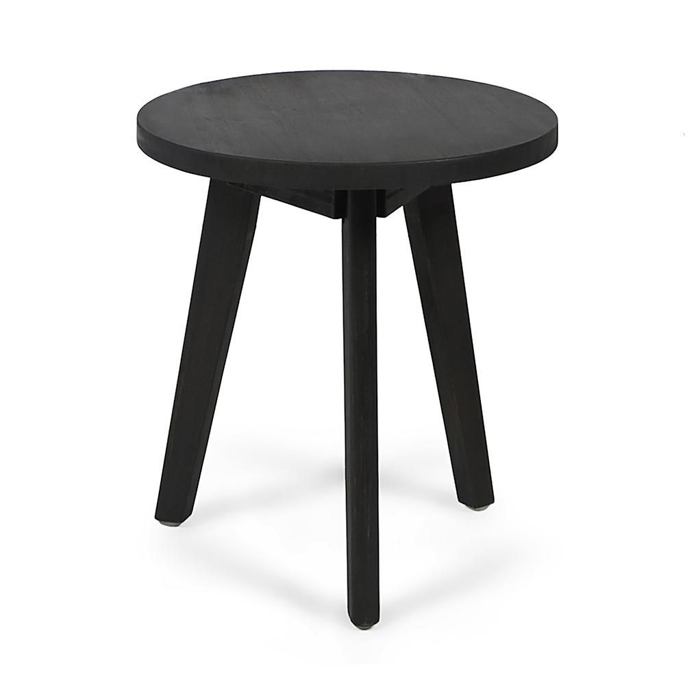 Le House Marina Dark Gray Round Wood Outdoor Side Table